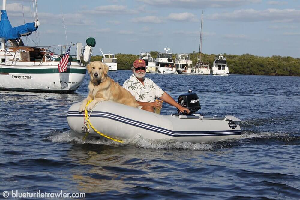 Tom and Bailey on a dinghy ride