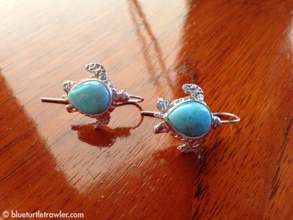 My Larimar Blue Turtle Earrings
