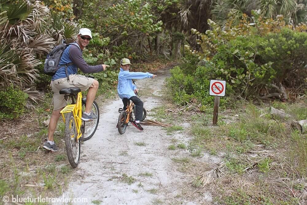 "Biking on the ""no biking"" trail"
