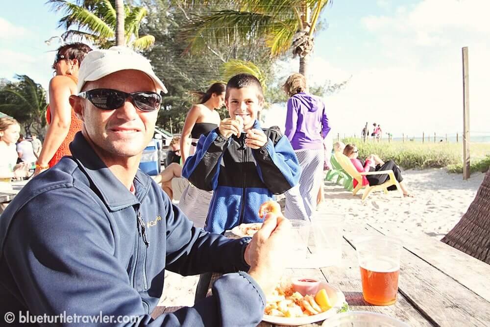 Randy and Corey having some shrimp