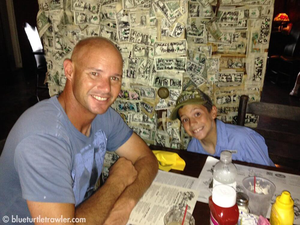 Randy & Corey at Cabbage Key in the dollar room