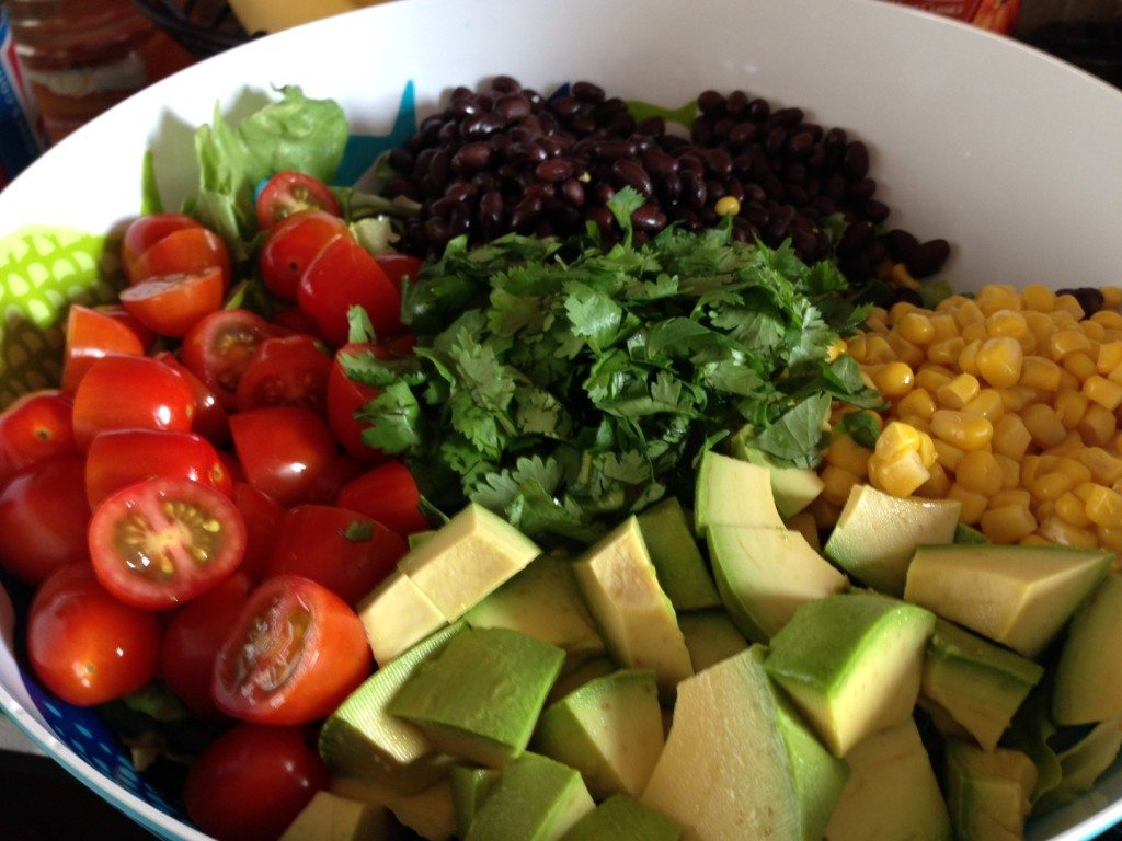 A gorgeous salad I prepared for a Sunday pool party. Recipe link below.