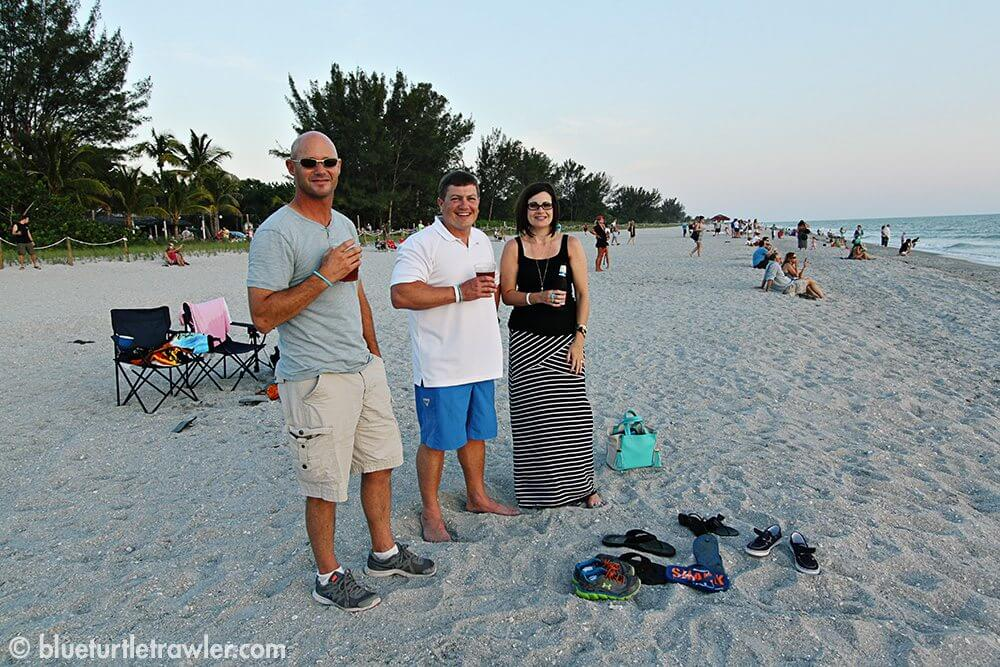 Randy, Kevin and Angie on the beach at the Mucky Duck