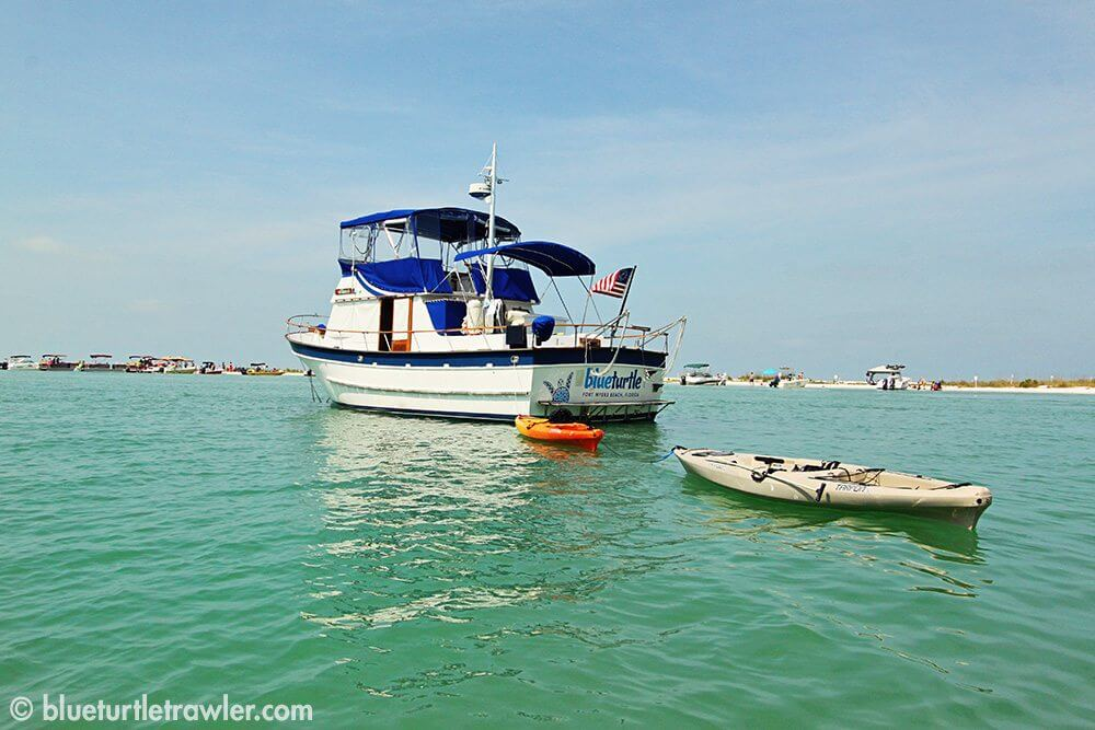 Blue Turtle anchored at Keewaydin Island