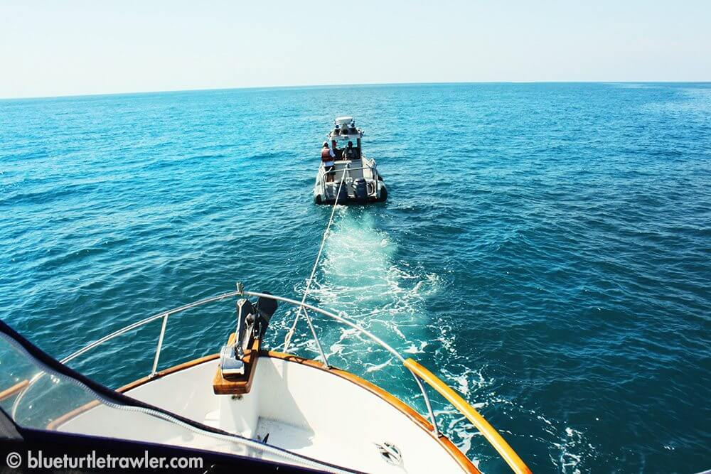 Being towed into the Dry Tortugas by the park rangers