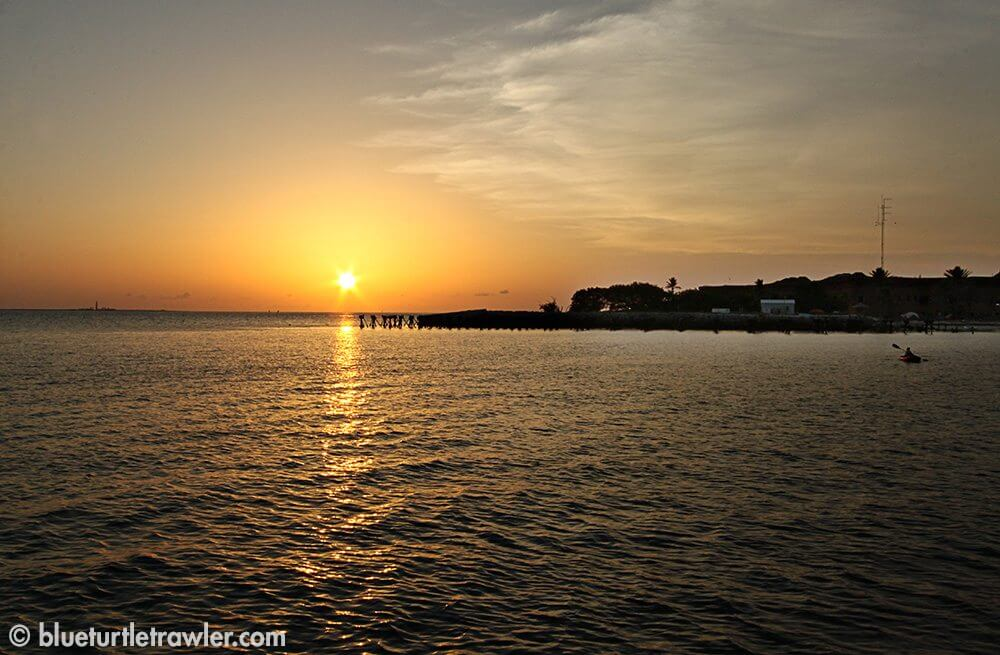 Sun setting by Fort Jefferson