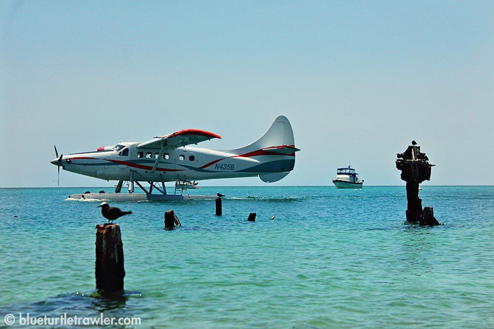 Seaplane landing with Blue Turtle in background