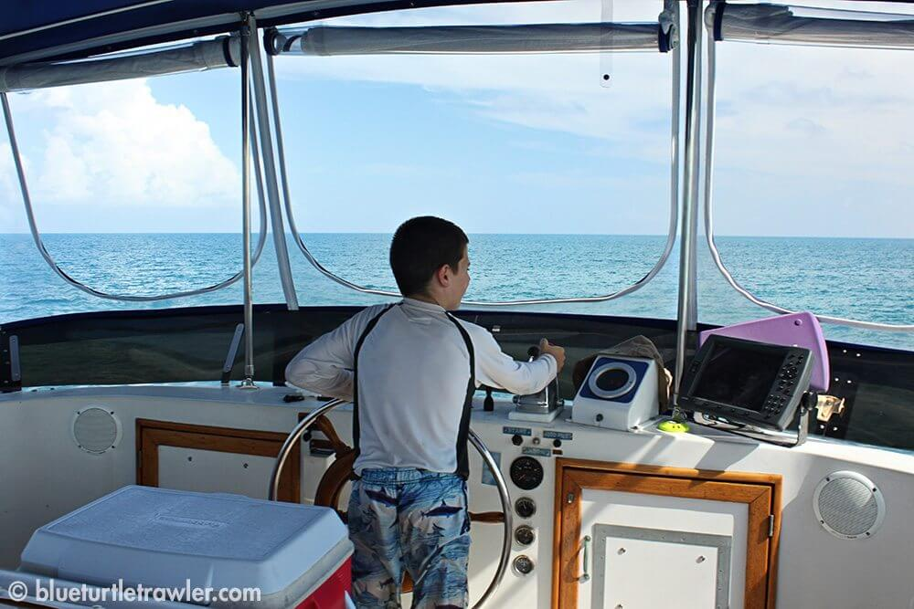 Daddy's turn, so Corey takes the helm