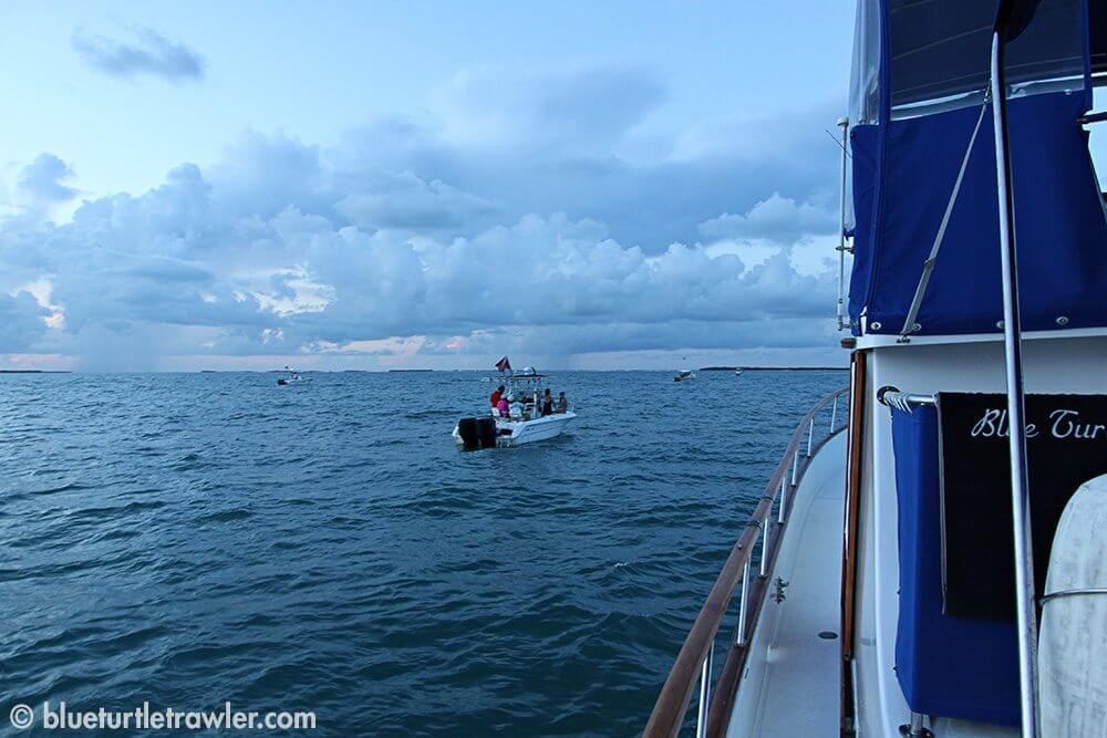 Boats getting close trying to find lobster