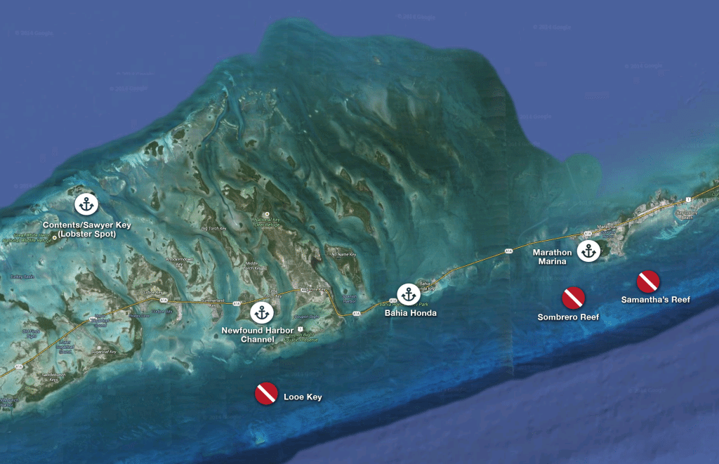 Dive/snorkel locations and nearby anchorages and marina (Click to enlarge)