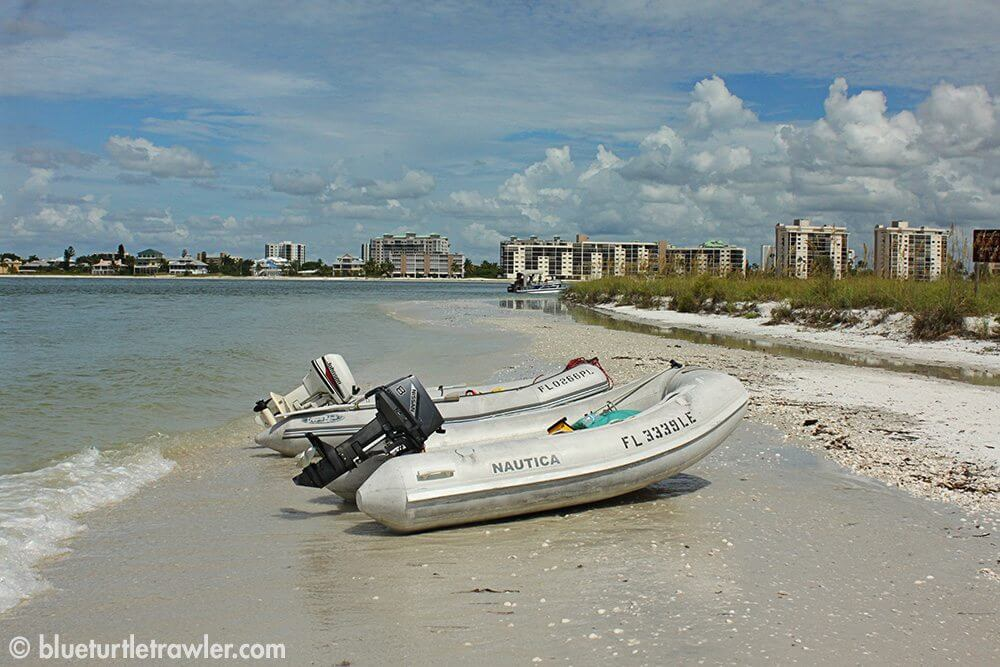 Beached dinghies at Lovers Key park