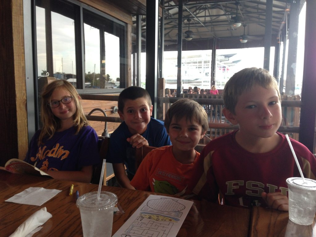 Labor Day weekend at Doc Ford's with (from left) Maddie, Corey, and my nephews Ryan and Jack