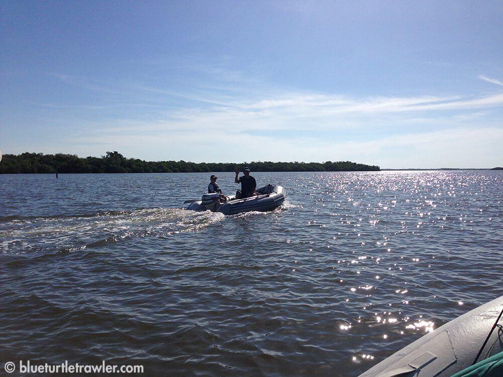 Corey and Grandpa on Grandpa's dinghy