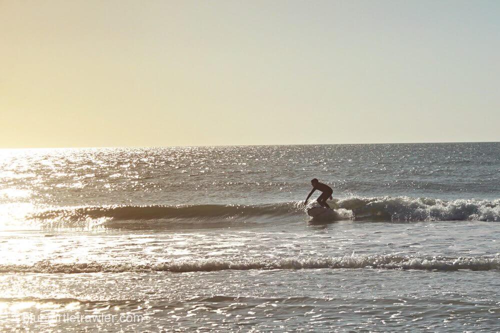 Corey catches a wave