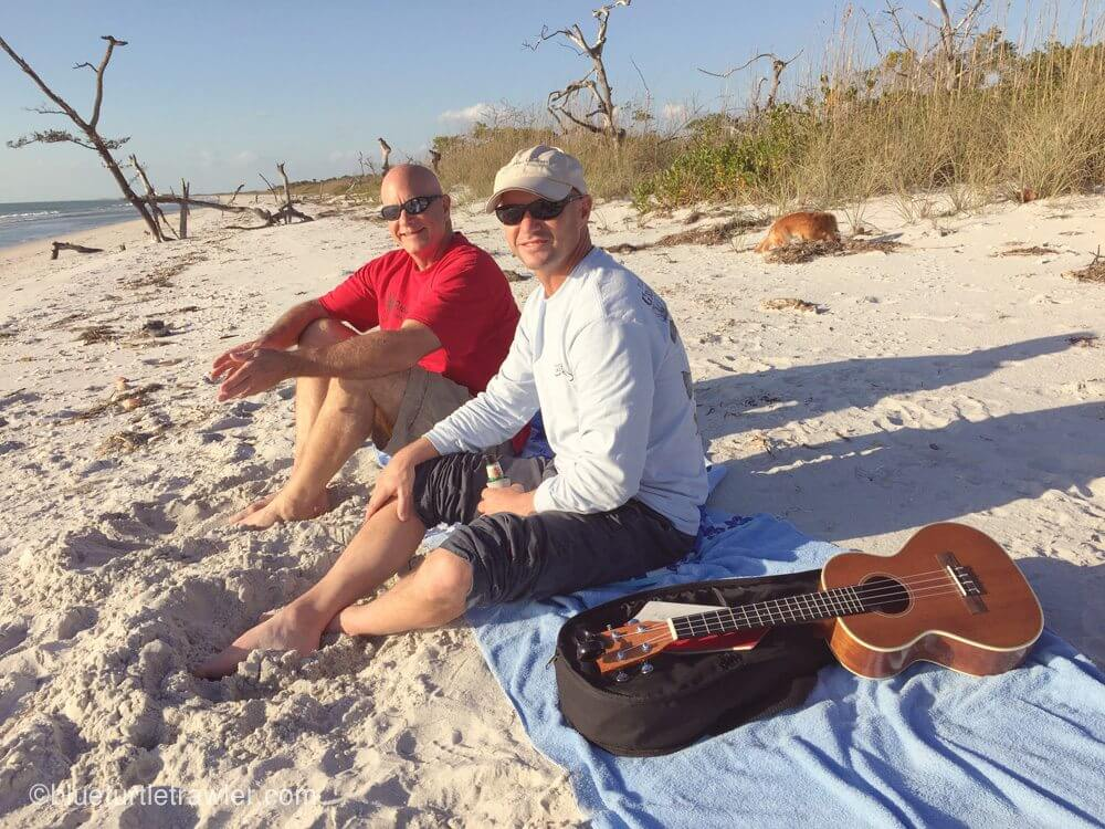 Uncle Gerry and Randy enjoying the beach