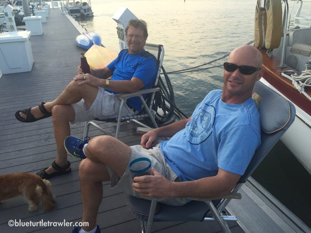 Randy and Michael relaxing on the dock