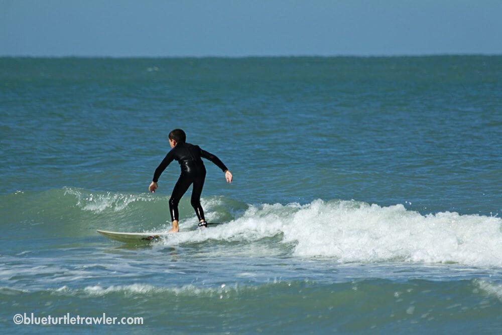 Corey surfing at Cayo Costa