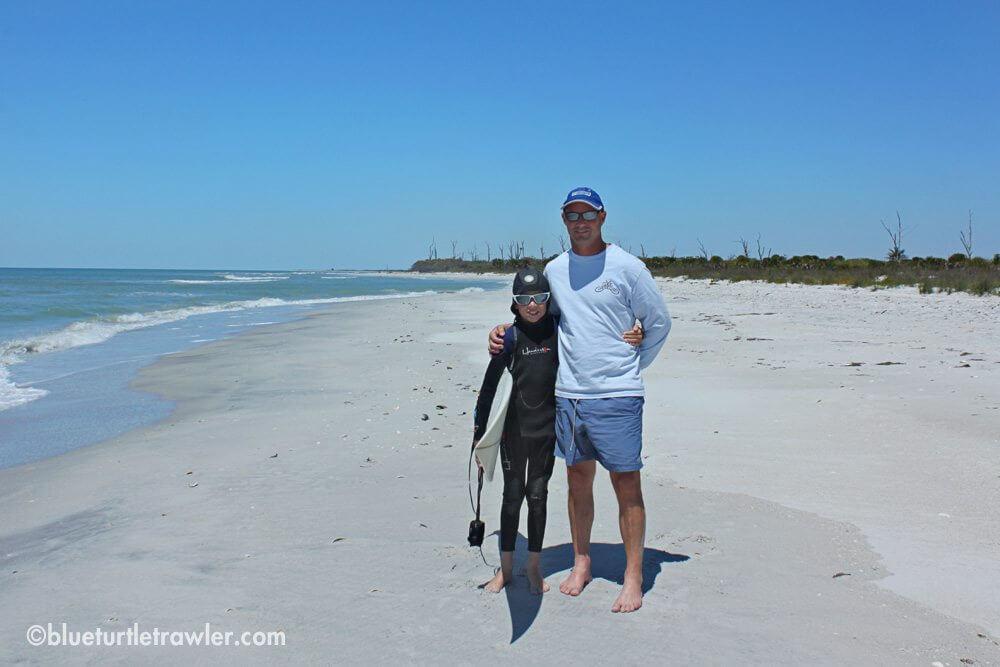 My boys on a pristine beach