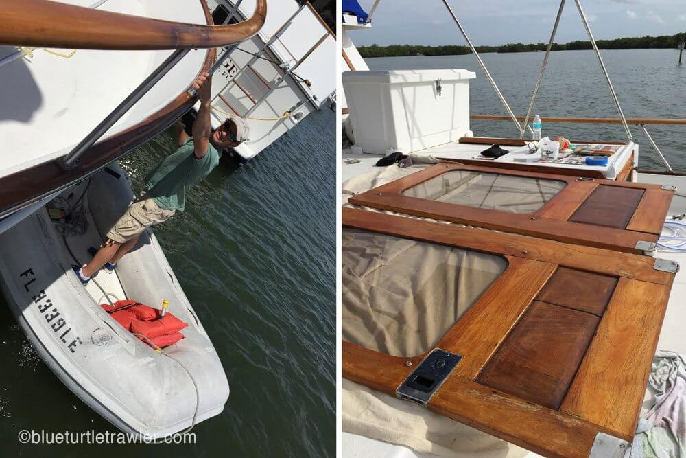 Randy had to get in the dinghy to sand and paint under the bottom rails