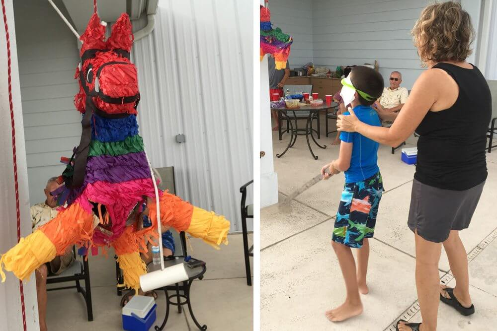 The piñata and Corey's attempt to break it