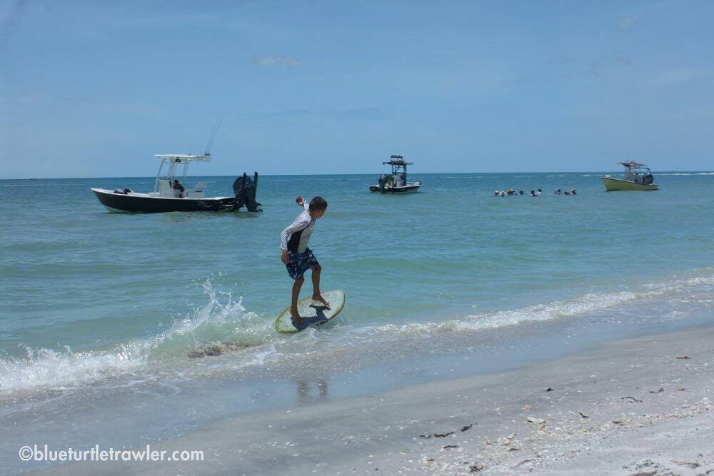 Corey skim boarding