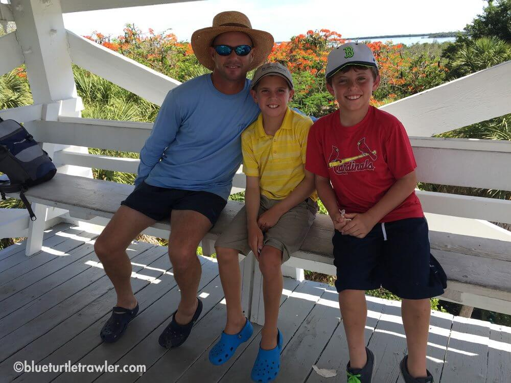 Randy and the boys at the top of the Cabbage Key water tower