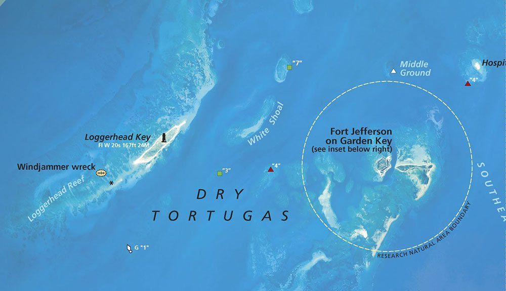 Map showing Garden Key with Fort Jefferson and Loggerhead Key (Click for full size map)
