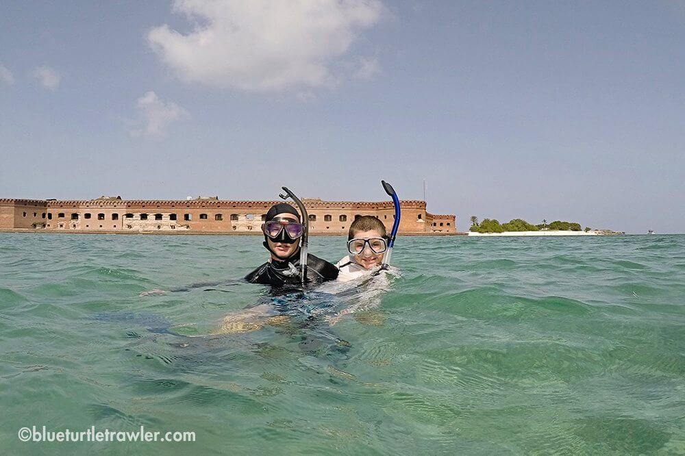 Corey and Randy snorkeling around the fort