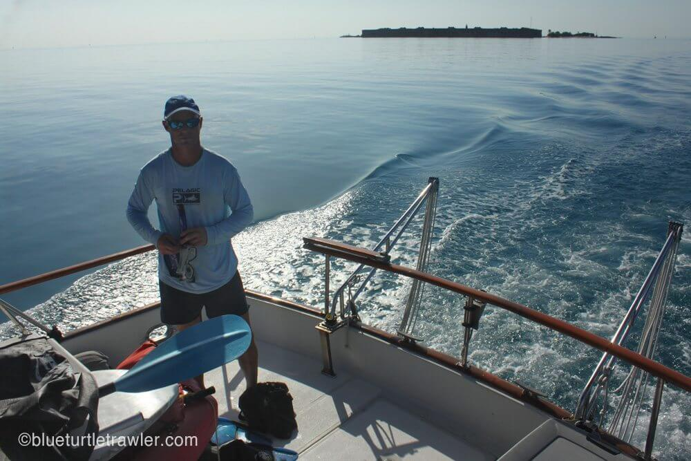 Cruising away from Fort Jefferson to go diving