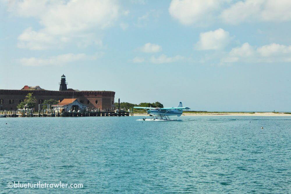 A sea plane getting ready to leave Dry Tortugas