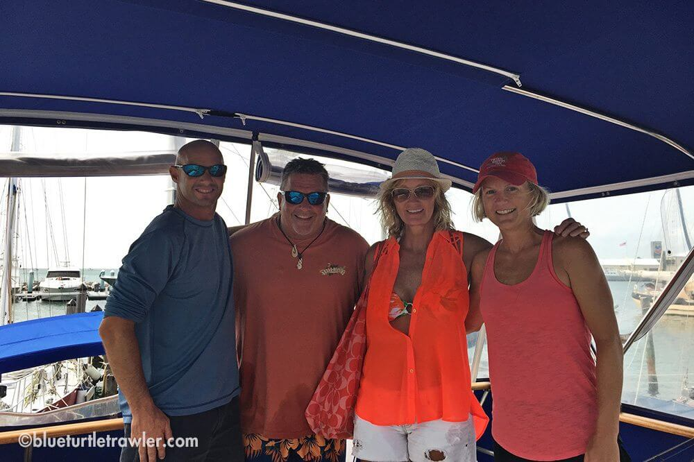 Randy and I with Vinny and Bobbie on the bridge of Blue Turtle