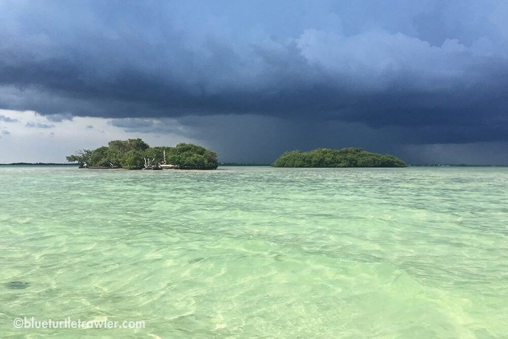 Storm rolling into Picnic Island where we were anchored