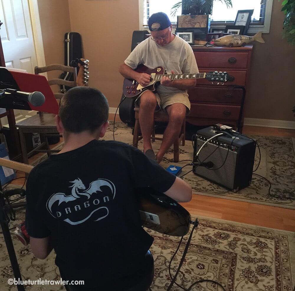 "My Dad and Corey ""shredding guitar"""