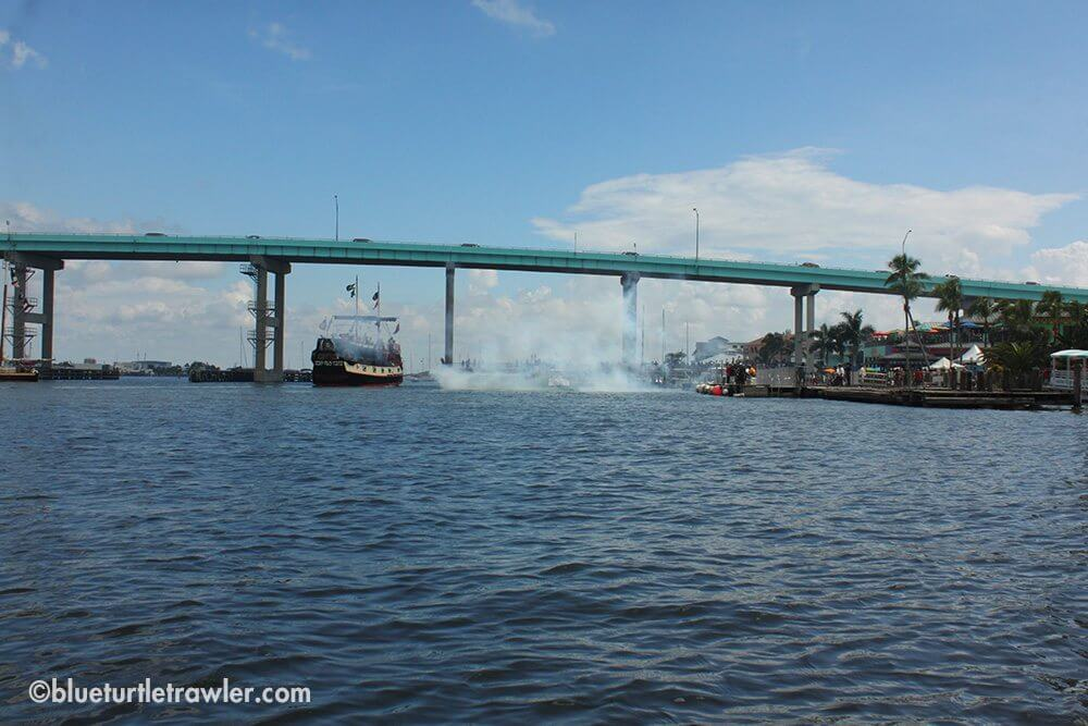 Big booms and smoke from shore