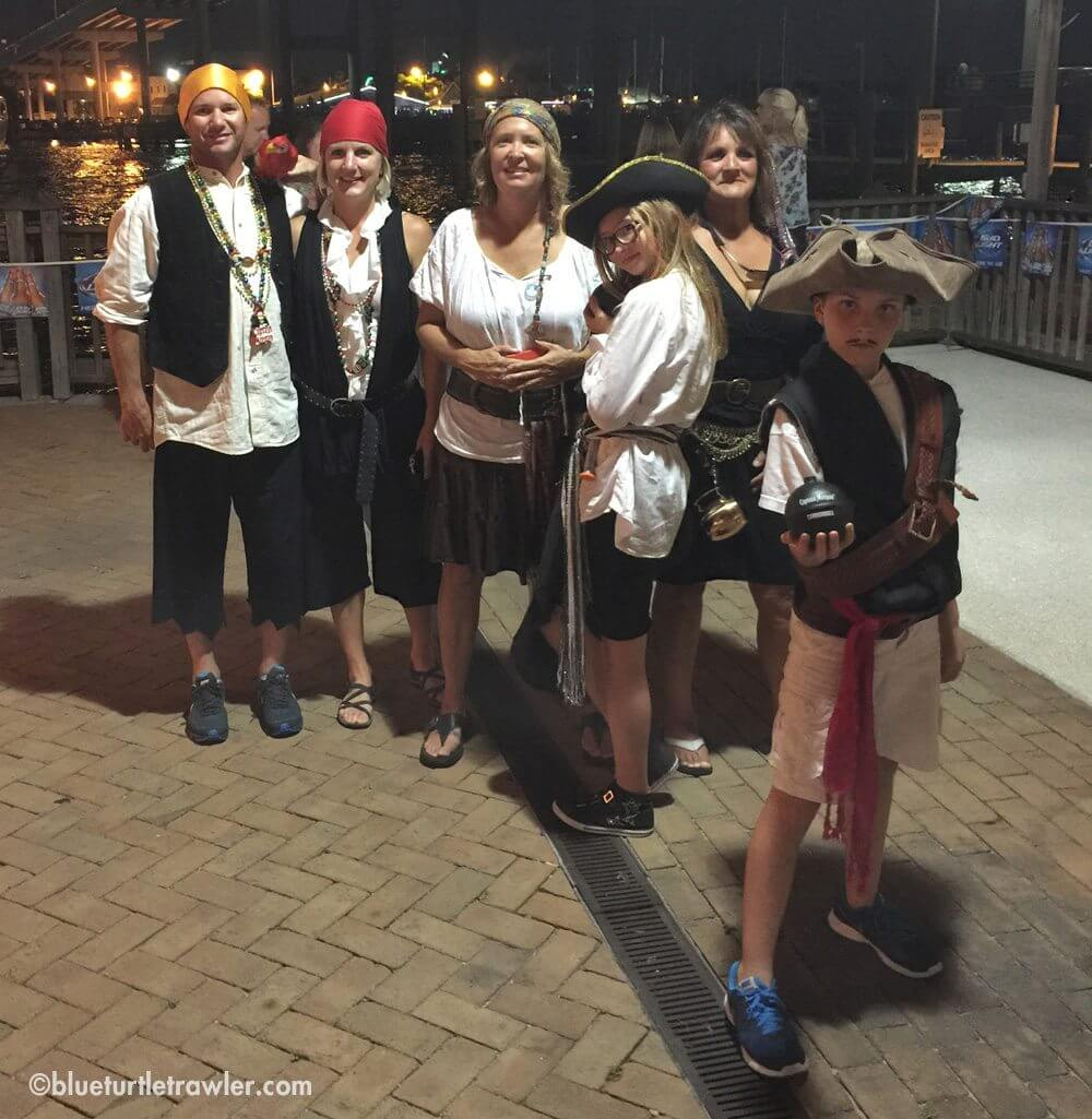 Our pirate crew—(l to r) Randy, me, Mary Kay, Maddie, Judy and CJ