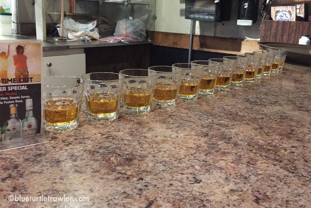 A round of Jameson shots for the pirate band