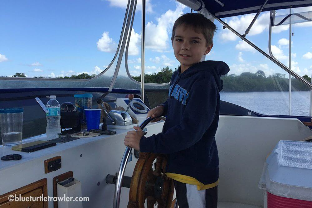 Captain Ryan at the helm