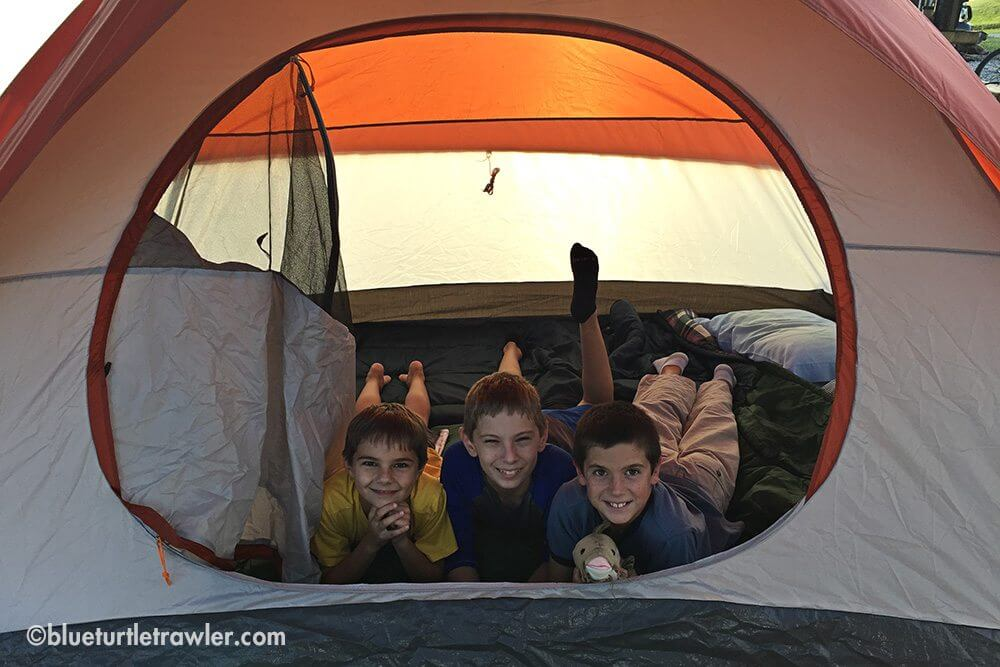 The boys in their tent