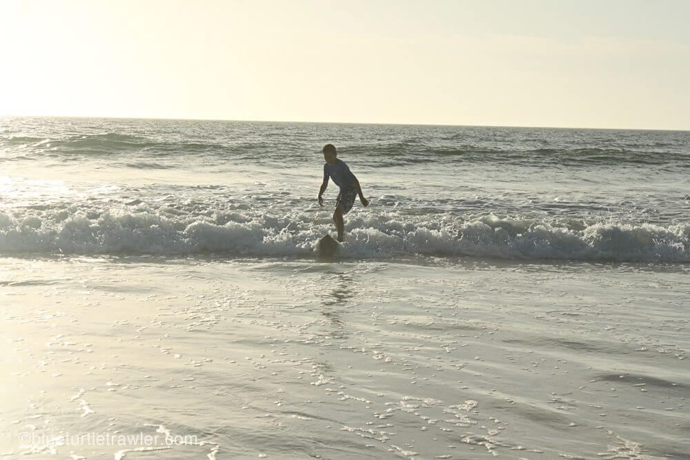 Corey somehow always manages to get up on a wave