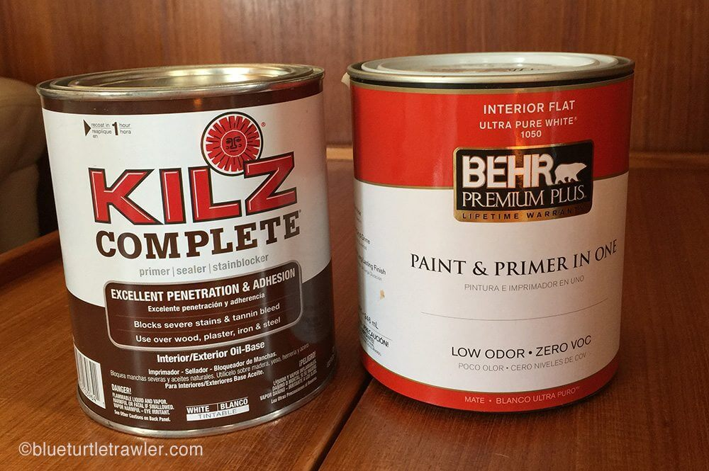 We used Kilz as a primer and then a flat interior white latex paint