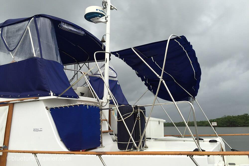 Other than canvas damage, Blue Turtle rode out the storm quite well.