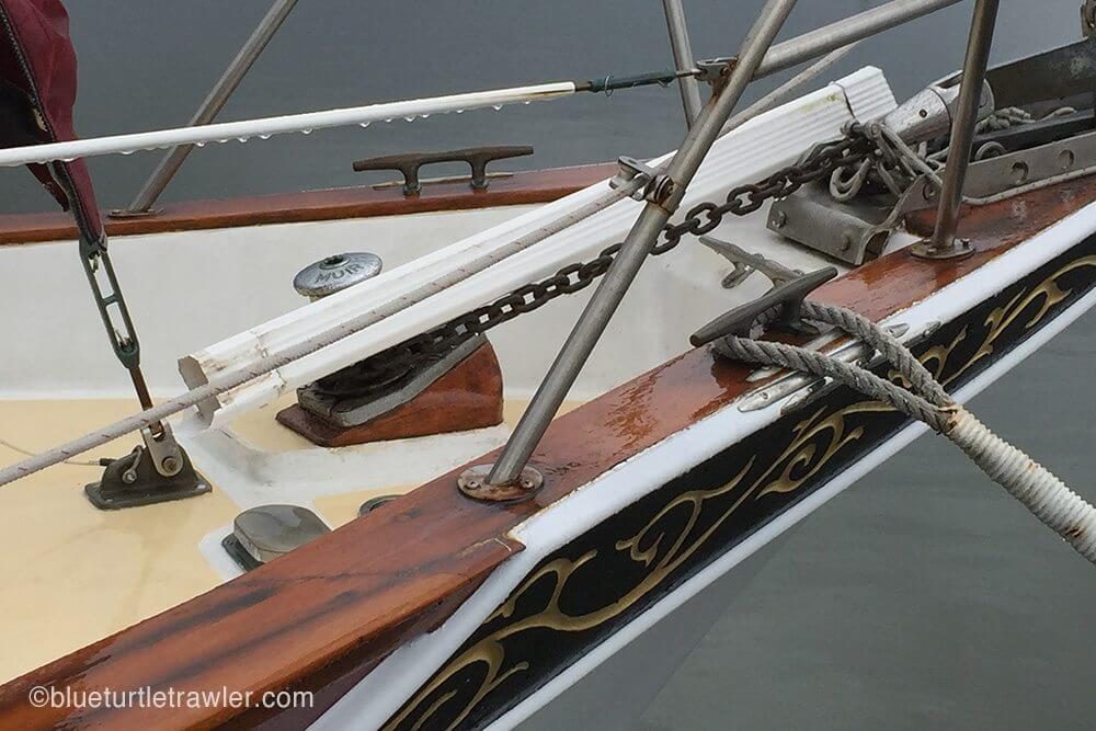 What looks like a rain gutter landed on a friend's sailboat