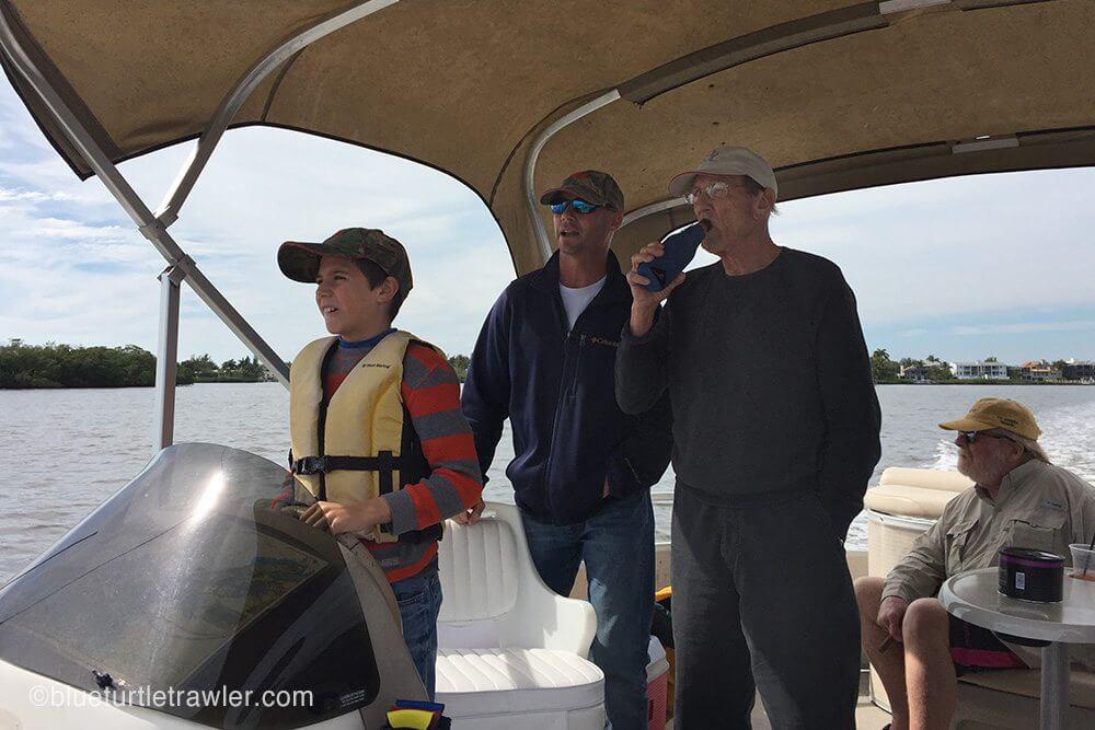 Corey captains the boat