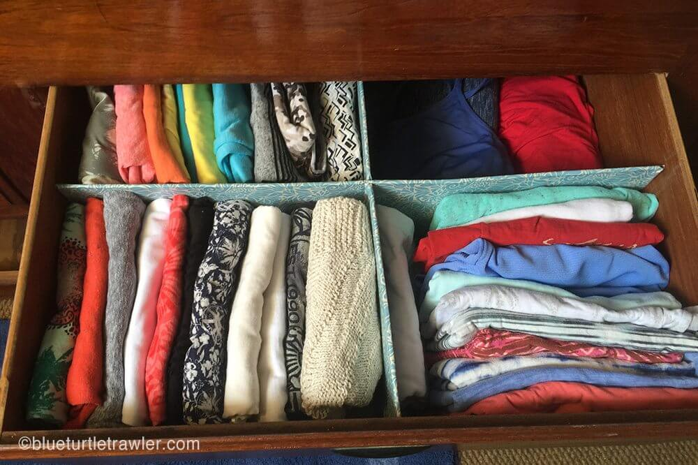 Organized t-shirt and tank top drawer