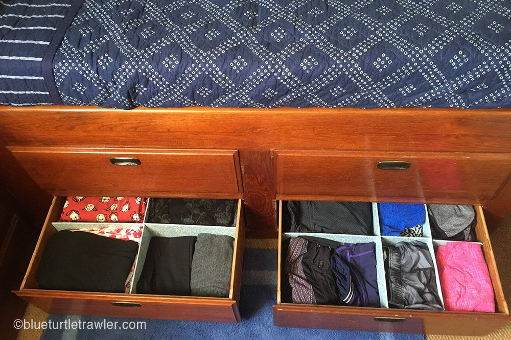 Large, organized built-in bed drawers