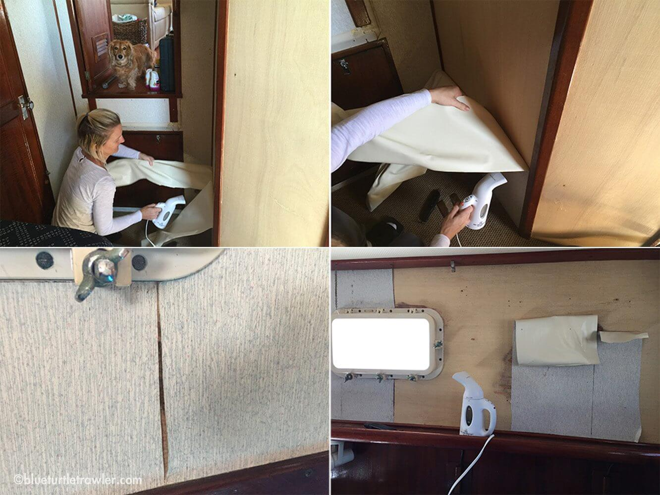 Above: steaming off the old wallpaper. Below: the wallpaper was stained and peeling in some areas.