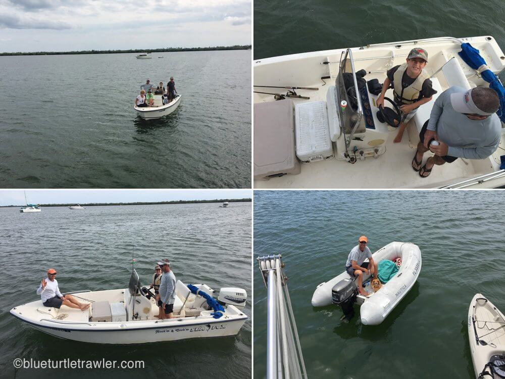 Bill takes Randy and Corey fishing (although too windy). Below right: Randy and Sophie go on a dinghy/fishing ride Sunday a.m.