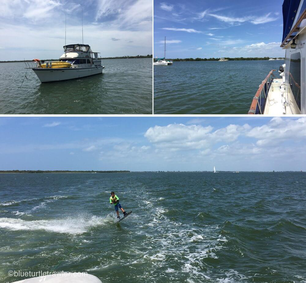Heading home and of course, Corey wake boarding behind Blue Turtle