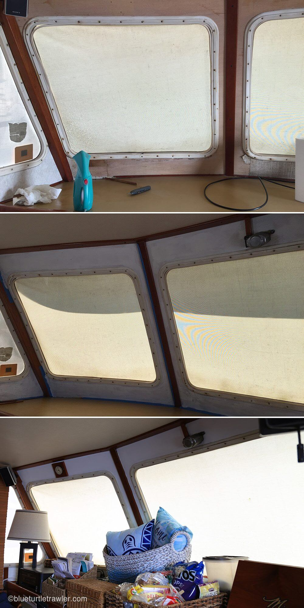 Top: wallpaper peeling in progress; Middle: after the coat of Kilz; Bottom: after with the fresh coats of paint
