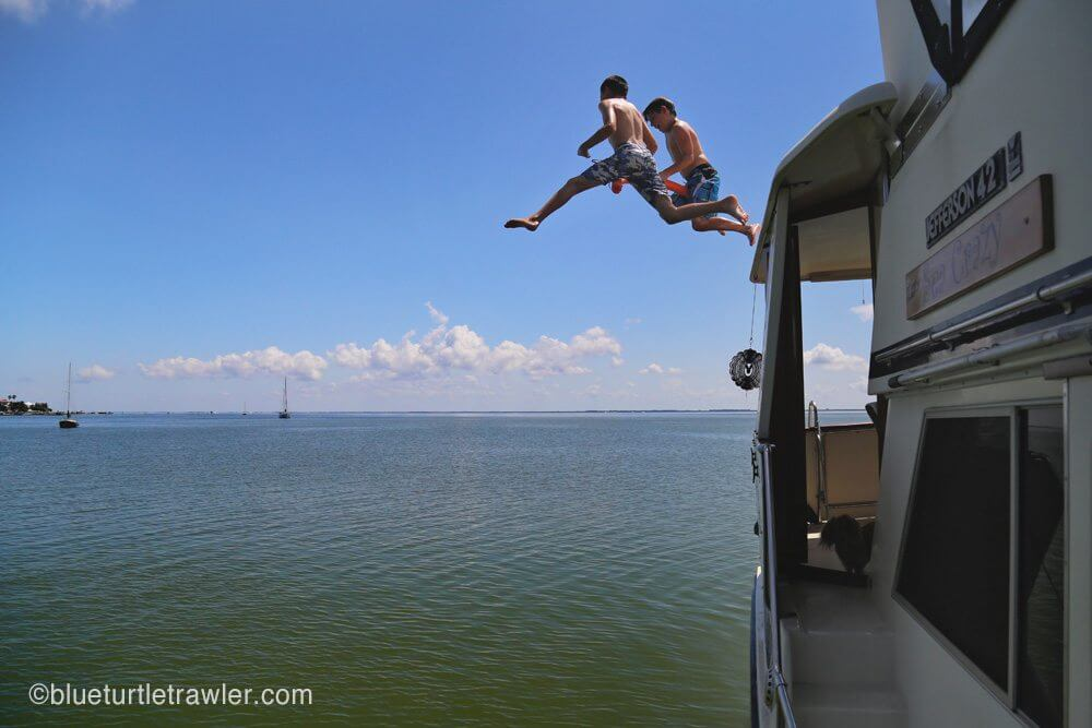 Leap of faith off Grandpa's boat
